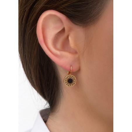 Boucles d'oreilles dormeuses mode métal et nacre | noir84677