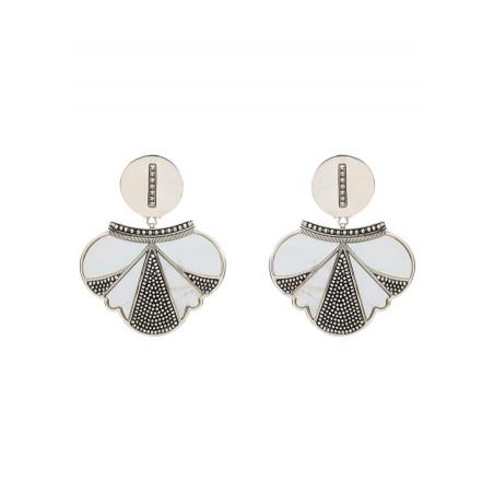 Boucles d'oreilles clips fantaisie métal et nacre | blanc