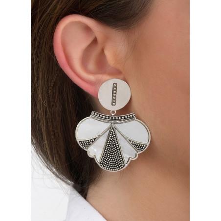 Boucles d'oreilles clips fantaisie métal et nacre | blanc84682