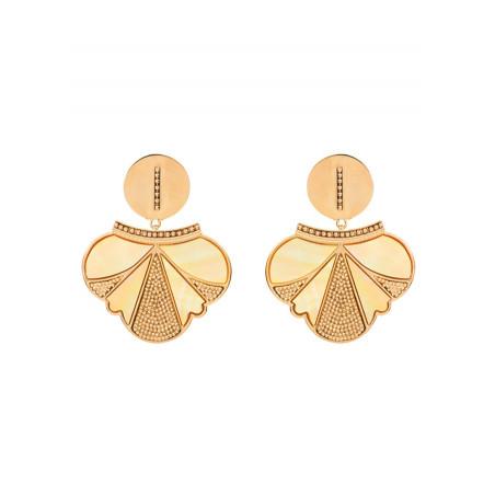 Boucles d'oreilles clips douces métal et nacre | jaune