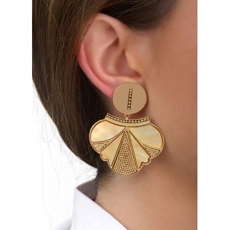 Boucles d'oreilles clips douces métal et nacre | jaune84687