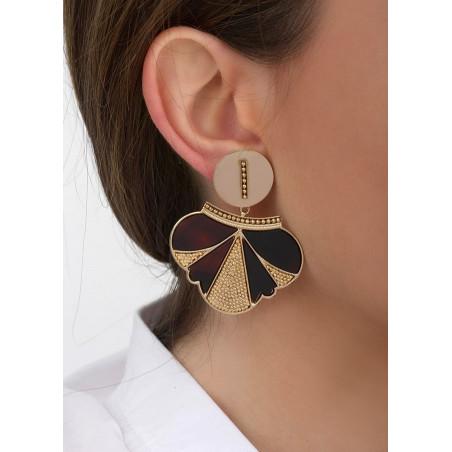 Boucles d'oreilles clips rock métal et nacre | noir84692