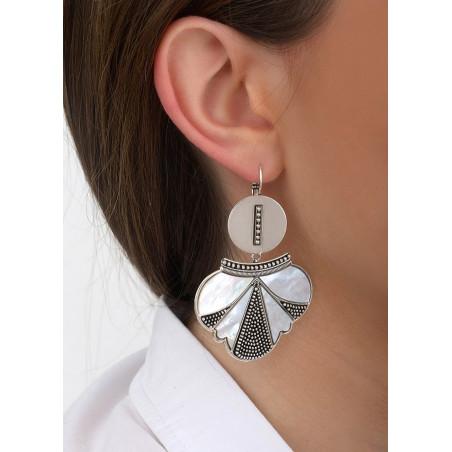 Boucles d'oreilles dormeuses fantaisie métal et nacre | blanc84697