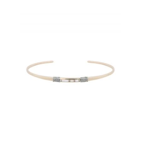 Bracelet jonc fin perles et fils métallisés | argenté