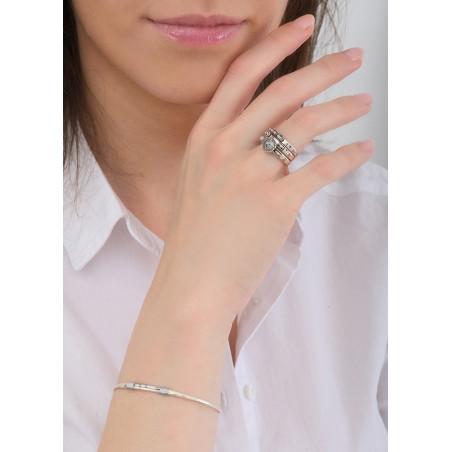 Bracelet jonc fin perles et fils métallisés | argenté84727