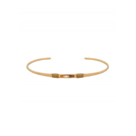 Bracelet jonc bohème perles et fils métallisés | doré