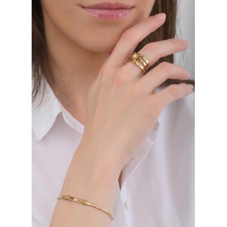 Bracelet jonc bohème perles et fils métallisés | doré84732