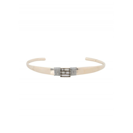 Bracelet jonc élégant perles et fils métallisés   argenté