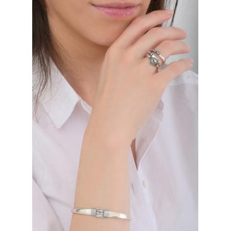 Bracelet jonc élégant perles et fils métallisés   argenté84737