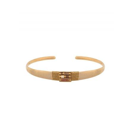 Bracelet jonc lumineux perles et fils métallisés | doré