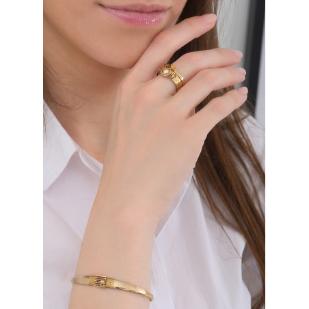 Bracelet jonc lumineux perles et fils métallisés | doré84742