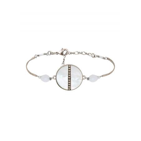 Bracelet souple délicat nacre et perles du Japon   blanc
