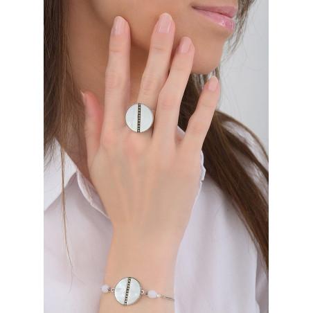 Bracelet souple délicat nacre et perles du Japon   blanc84747