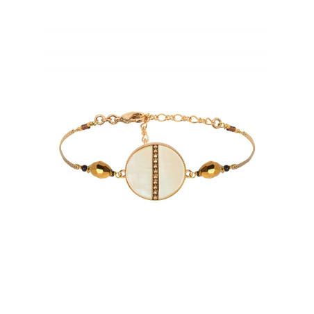 Bracelet souple solaire nacre et perles du Japon   jaune