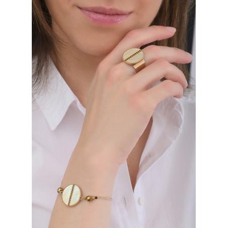 Bracelet souple solaire nacre et perles du Japon   jaune84752