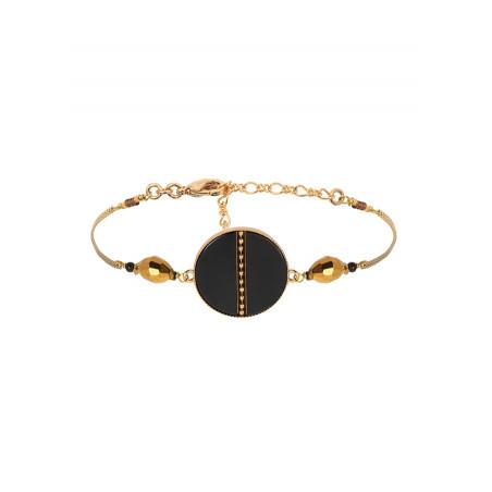Bracelet souple tendance nacre et œil de taureau   noir