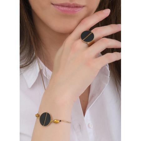 Bracelet souple tendance nacre et œil de taureau   noir84757