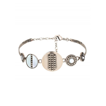 Bracelet souple bohème nacre et cristal   blanc