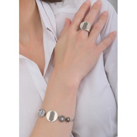 Bracelet souple bohème nacre et cristal   blanc84762