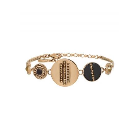 Bracelet souple moderne nacre et cristal   noir