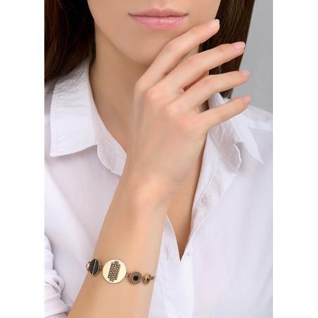 Bracelet souple moderne nacre et cristal   noir84772