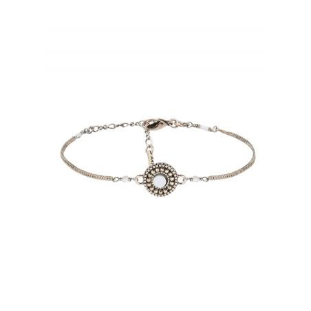 Bracelet souple fantaisie nacre et perles du Japon   blanc