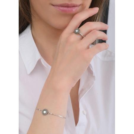 Bracelet souple fantaisie nacre et perles du Japon   blanc84777