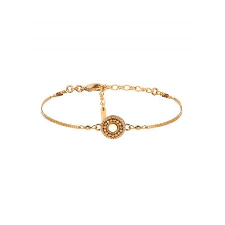 Bracelet souple romantique nacre et perles du Japon | jaune