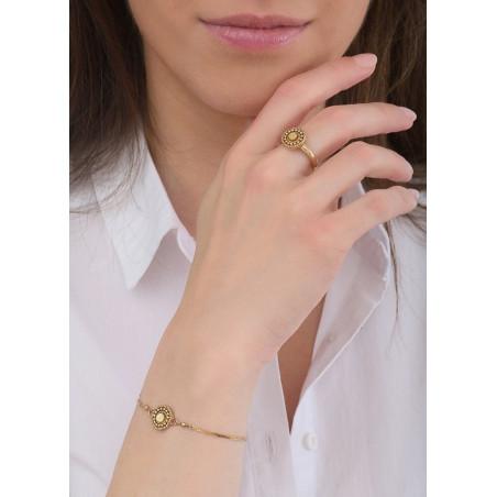 Bracelet souple romantique nacre et perles du Japon | jaune84782