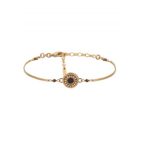 Bracelet souple chic nacre et perles du Japon | noir