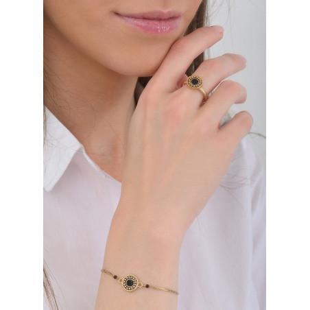 Bracelet souple chic nacre et perles du Japon | noir84787