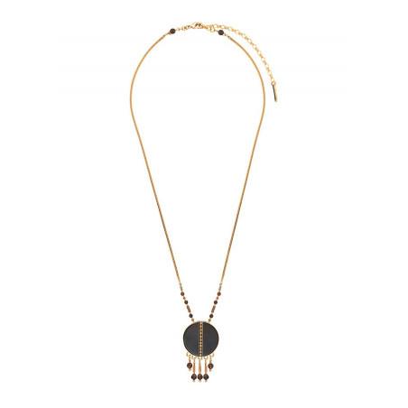 Collier pendentif mystérieux nacre et quartz   noir