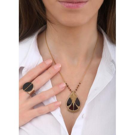 Collier pendentif élégant nacre et quartz | noir84817
