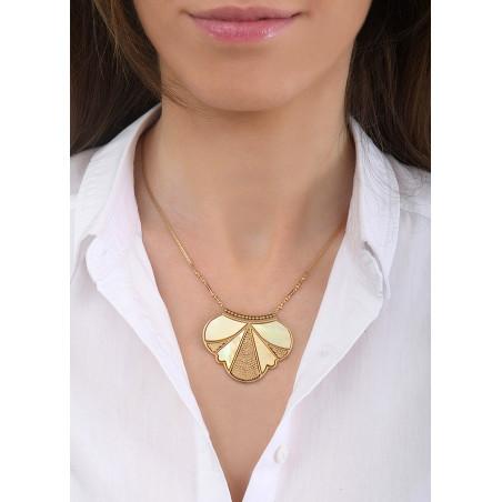 Collier pendentif glamour nacre et jade   jaune84827