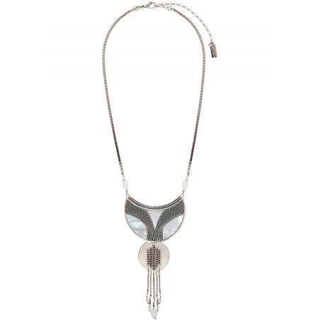 Collier plastron tendance nacre et cristal de roche | blanc