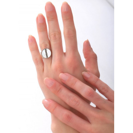 Bague féminine ajustable nacre et métal | blanc84867