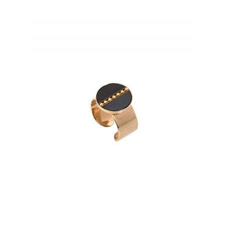 Bague intemporelle ajustable nacre et métal | noir