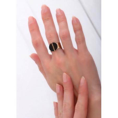 Bague intemporelle ajustable nacre et métal | noir84877