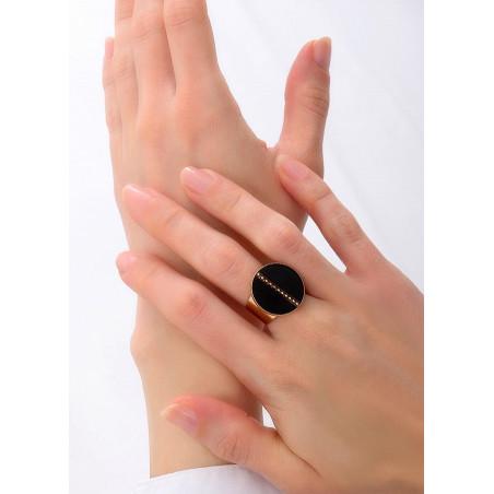 Bague large glamour ajustable nacre et métal   noir84892