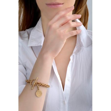 Médaille gravée small féminine métal I doré84937
