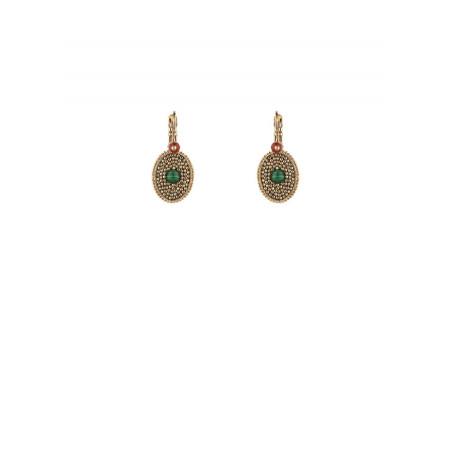 Boucles d'oreilles dormeuses précieuses malachite | vert