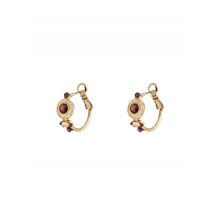 Fashionable hoop earrings for pierced ears with garnet   Mauve