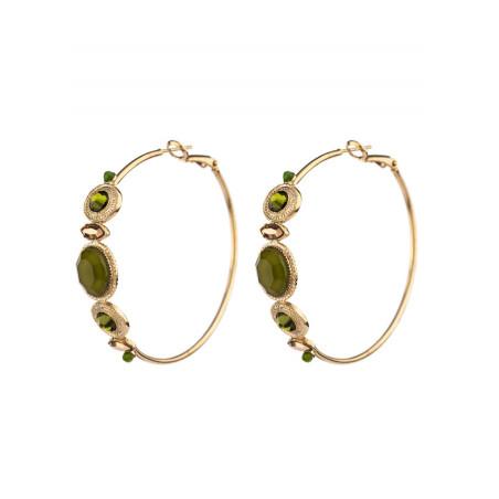 Bohemian hoop earrings for pierced ears with jade | Khaki