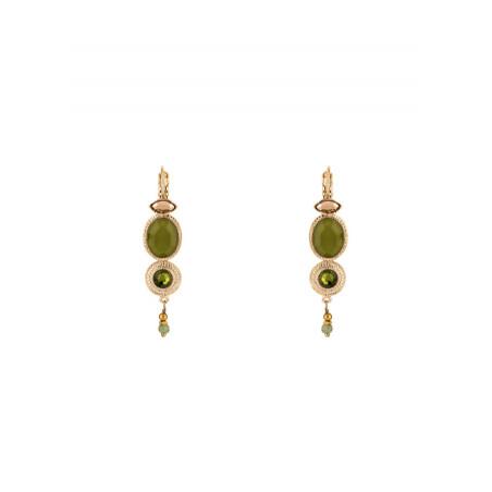 Boucles d'oreilles  dormeuses chic jade | Kaki