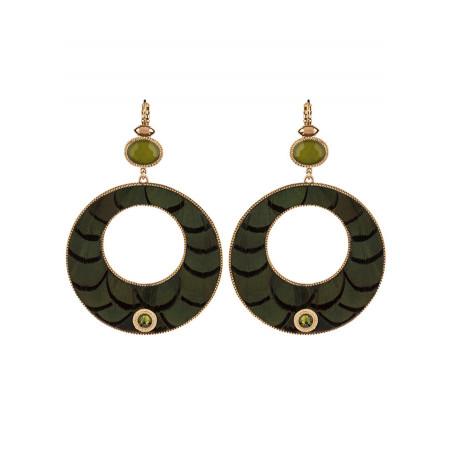 Fashionable feather sleepers earrings | Khaki