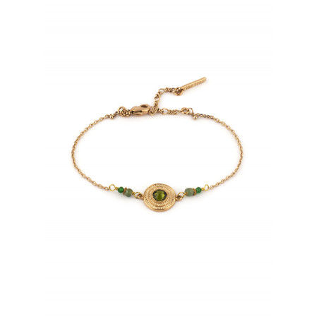 Bracelet délicat cristal jade et jaspe | Kaki
