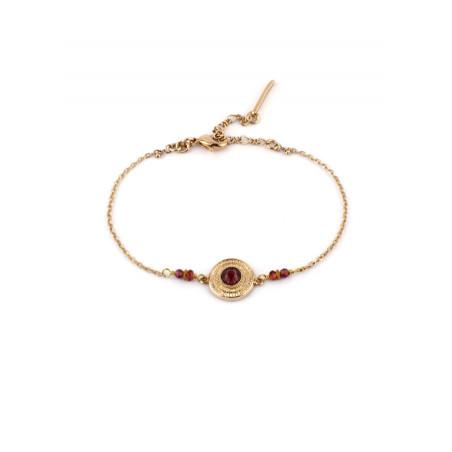 Bracelet fin cristal et grenat | Mauve