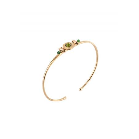 Bracelet jonc sophistiqué cristal et jade   Kaki