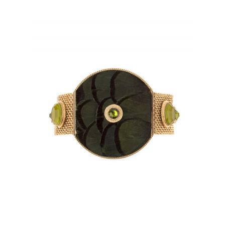Fashionable feather crystal bracelet   Khaki