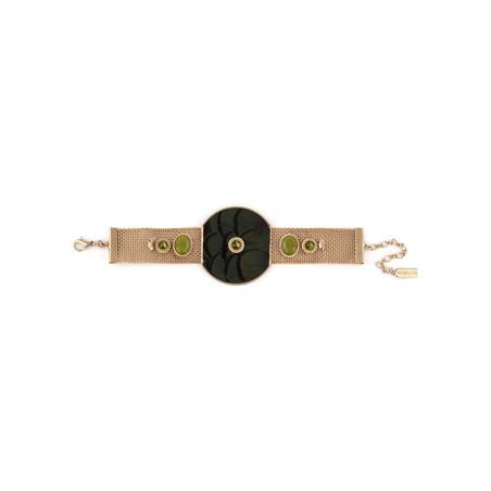 Fashionable feather crystal bracelet   Khaki84982